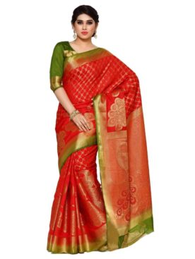 MIMOSA Peacock Design Pallu Art Silk Kanjivaram Style Saree with Blouse in Color Red (4102-2150-2d-rd-olv) - mimosaindia