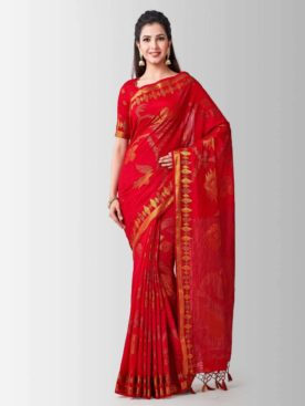 Mimosa kanjivaram art silk saree with unstiched blouse - red