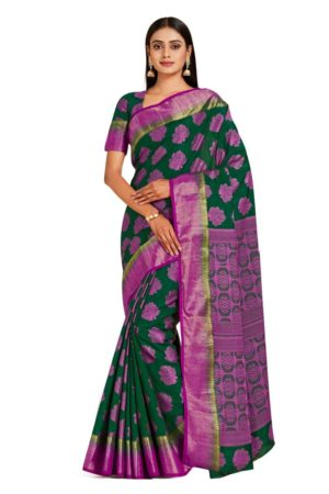 Mimosa kanjivaram style art silk saree - green