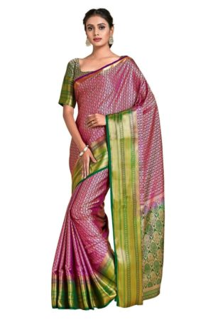 Mimosa kanjivaram style art silk saree - purple