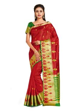 Mimosa kanjivaram style art silk saree - red