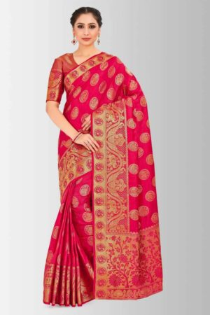 Mimosa kanjivaram style art silk saree with unstiched blouse