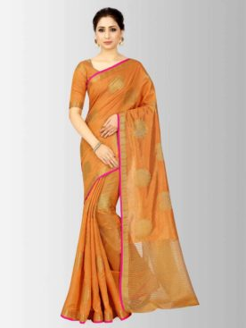 Mimosa kanjivaram style tussar silk saree color - orange