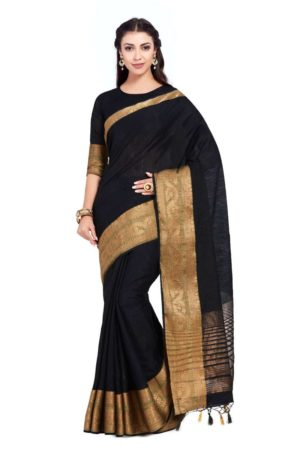 IMOSA Women's Linen Silk Kanjivaram Style Official Wear Saree with Blouse - mimosaindia