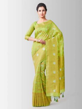 Mimosa lenin silk saree with unstiched blouse - green