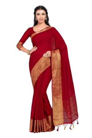 MIMOSA Women's Linen Silk Saree Kanjivaram Style with Blouse - mimosaindia