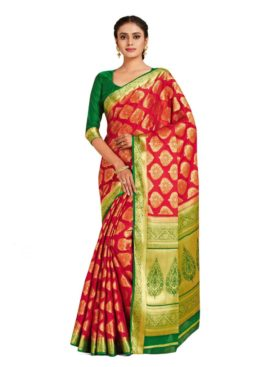 Mimosa mysore silk style crepe saree - red