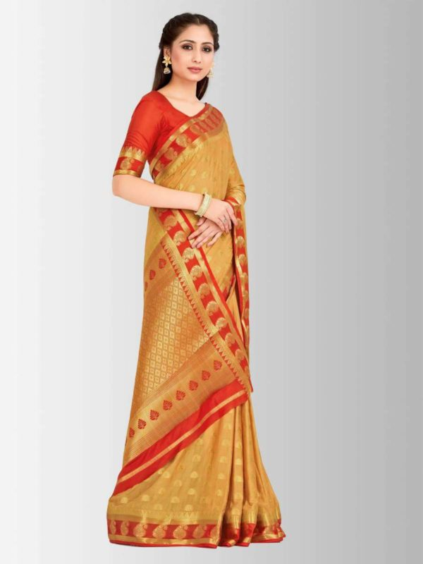 Mimosa mysore silk style crepe saree with unstiched blouse