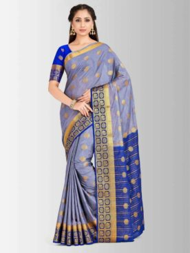 Mimosa mysore silk style crepe saree with unstiched blouse -