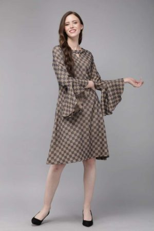 Mimosa navy blue color checked boat neck a-line dress for