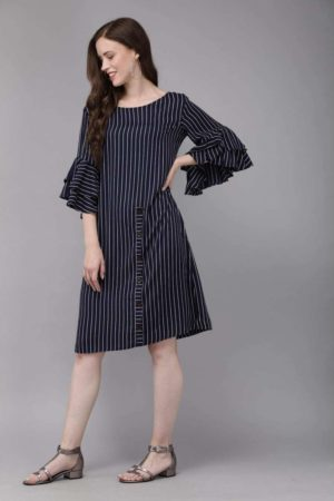 Mimosa navy blue color striped boat neck a-line dress for