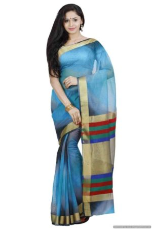 MIMOSA Multicolor Striped Design Net Saree with Contrast Blouse (3377-prs8-ak-2-gry) - mimosaindia