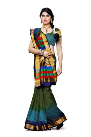 MIMOSA Dye & Dye Style Net Saree with Blouse in Color Olive (3425-prs8-3d-olv) - mimosaindia