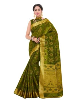 Mimosa patola art silk saree with unstiched blouse - olive