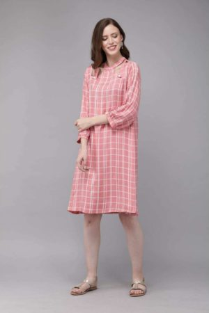 Mimosa pink color checkered high-neck a-line dress for women