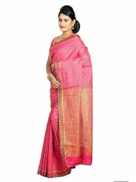 Mimosa raw silk saree with unstiched blouse - pink