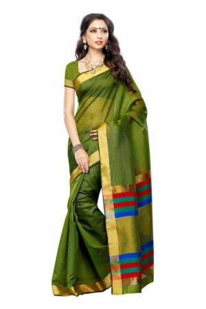 MIMOSA Traditional Wear Raw Silk Saree with Blouse in Color Olive (3223-prs15-olive) - mimosaindia