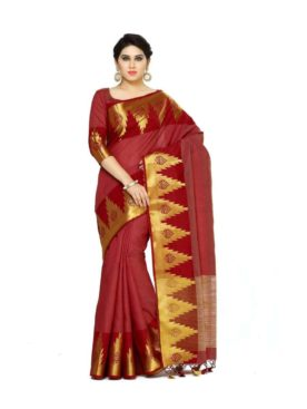 Mimosa tussar silk saree with unstiched blouse - maroon