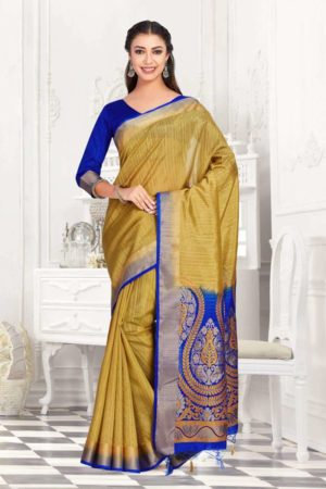 MIMOSA Women's Raw Silk Saree with Blouse - mimosaindia