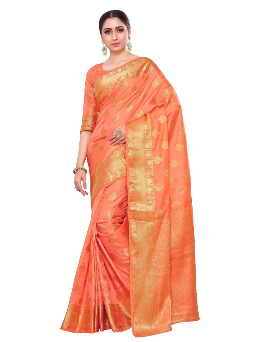 Mimosa uppada art silk saree with unstiched blouse - peach