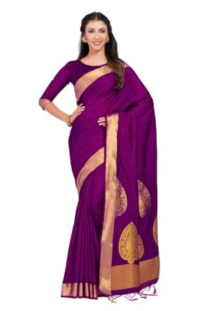 MIMOSA Women Art Silk Kanjivaram Style Saree with Blouse - mimosaindia