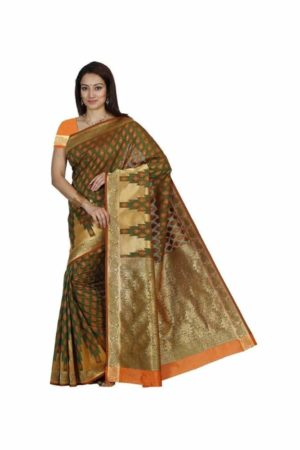 MIMOSA Kanjivaram Art Silk Saree with Zari Border and Blouse in Color Green and Orange (3303-r8-gr-orng) - mimosaindia