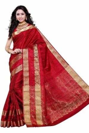 MIMOSA Festive Wear Floral Kanjivaram Art Silk Saree with Blouse in Color Maroon (3276-2092-sd-mrn) - mimosaindia